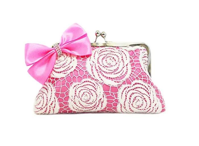 Rose Lace Clutch Purse in Hot Pink |