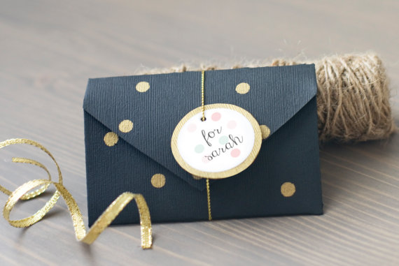 will you be my bridesmaid folded card black with gold dots