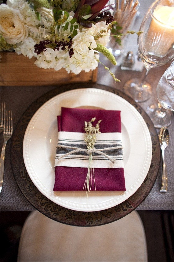 wedding place setting - wine themed wedding ideas