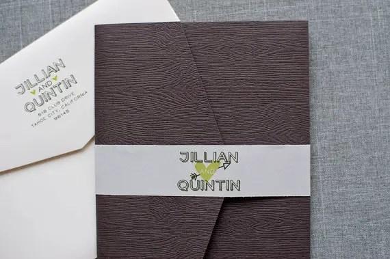 wood themed wedding invitation