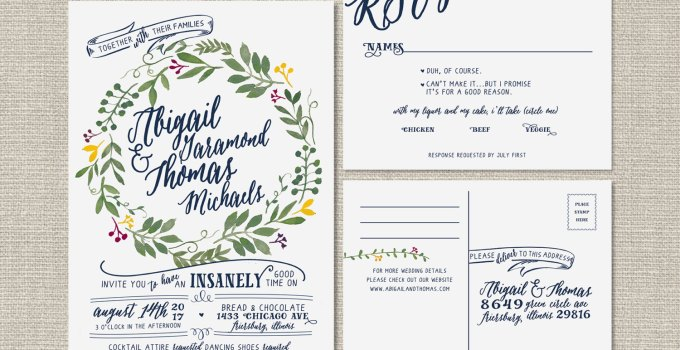 wreath wedding invitation