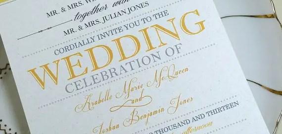 yellow and gray wedding invitation