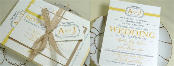 yellow gray wedding invitation - Invitations for Wedding Themes