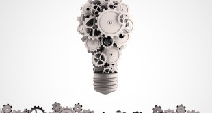 Business ideas and concepts featuring a light bulb with gears and cogs