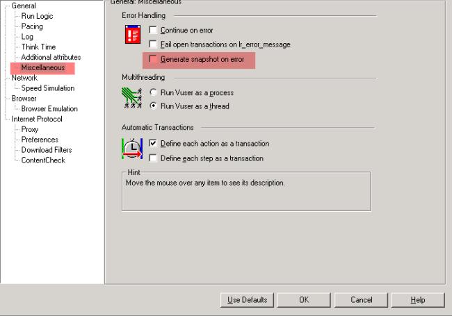 Miscellaneous tab in the run time settings