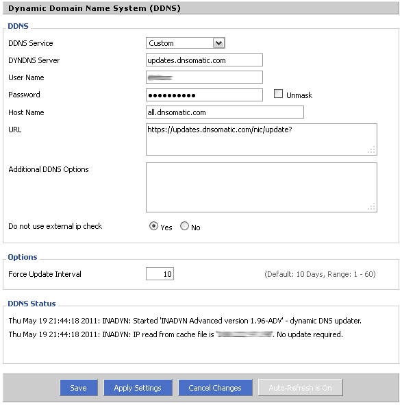 DD-WRT DNS-O-Matic Settings