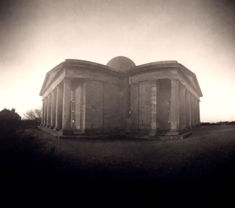 City Observatory Edinburgh from south east-Cylindrical pinhole camera, 20x16 paper negative