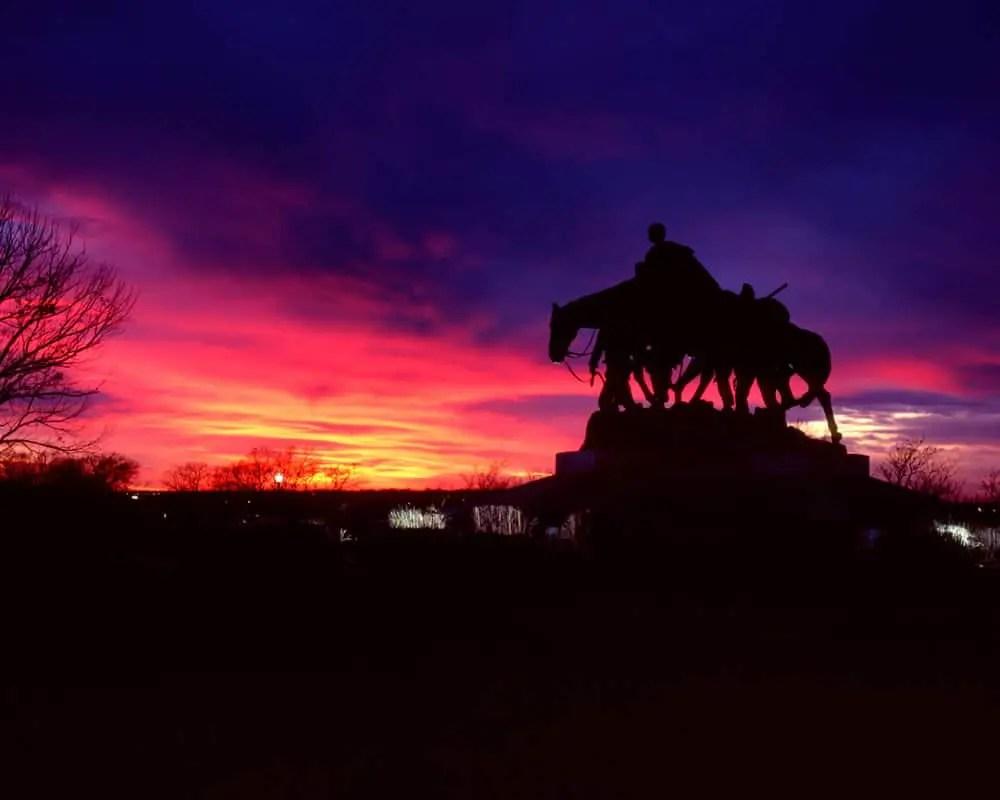 Pioneer mother memorial statue at Sunset. Fuji Velvia 100, 150mm.