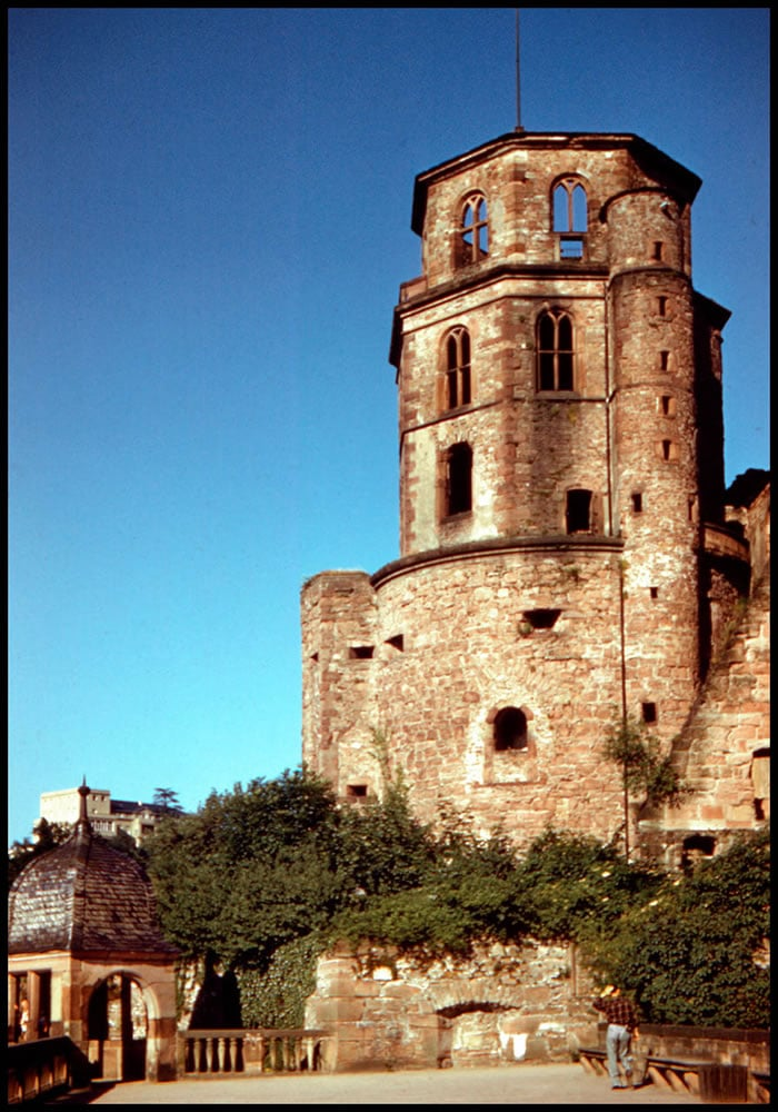 Restored Ektachrome 64, Heidelberg Castle, Germany, 1957