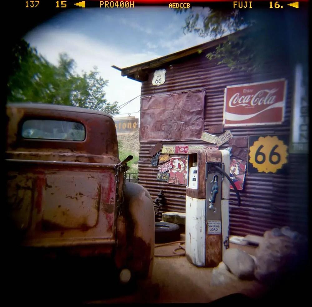 """""""Hackberry Springs, AZ. Route 66,"""" Holga N with Fuji 400 NPH"""