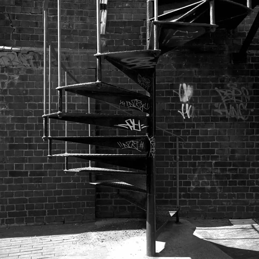 Spiral Stairs - Hasselblad 500C-M - Zeiss Distagon CF 60mm f-3.5 - Kodax T-Max 400 (bad batch) - Kodak HC-110 - Epson 4180
