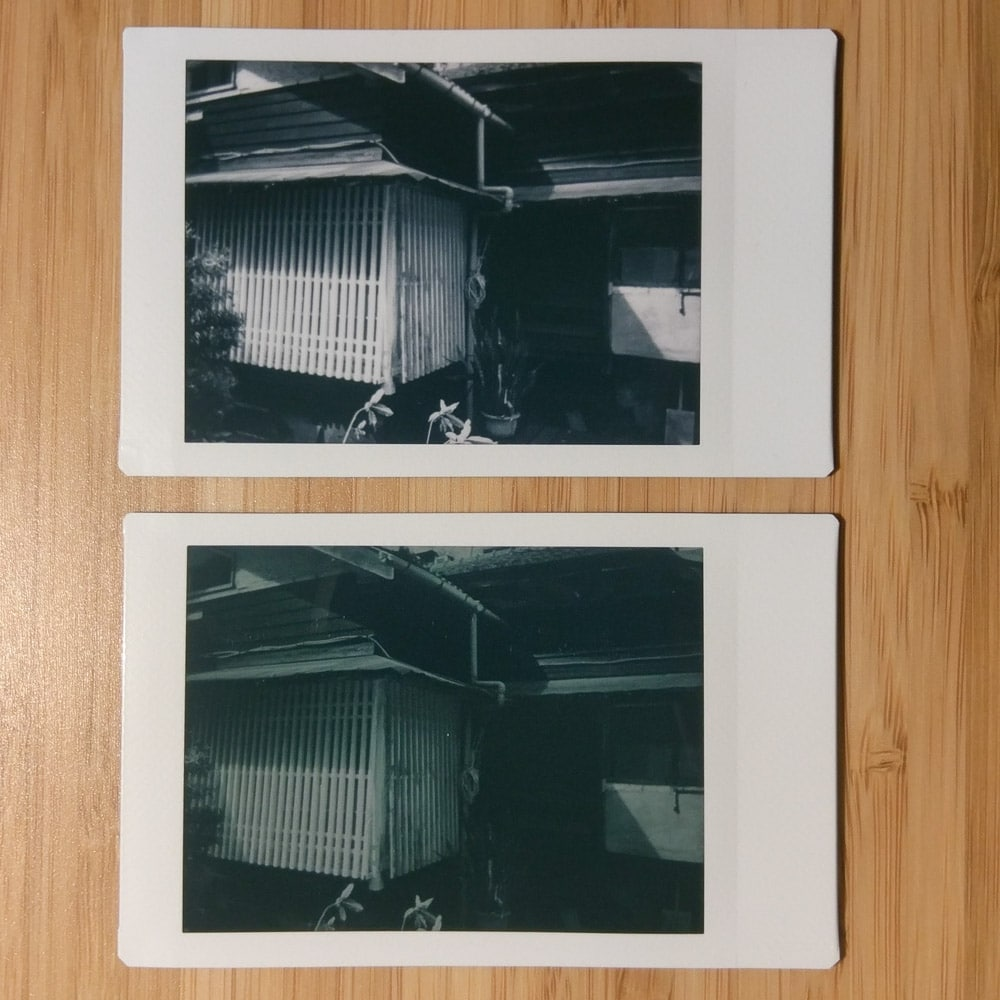 Instax Mini Monochrome - House 02 - Bottom: Orange #21 filter + L-Mode / Top: No filter
