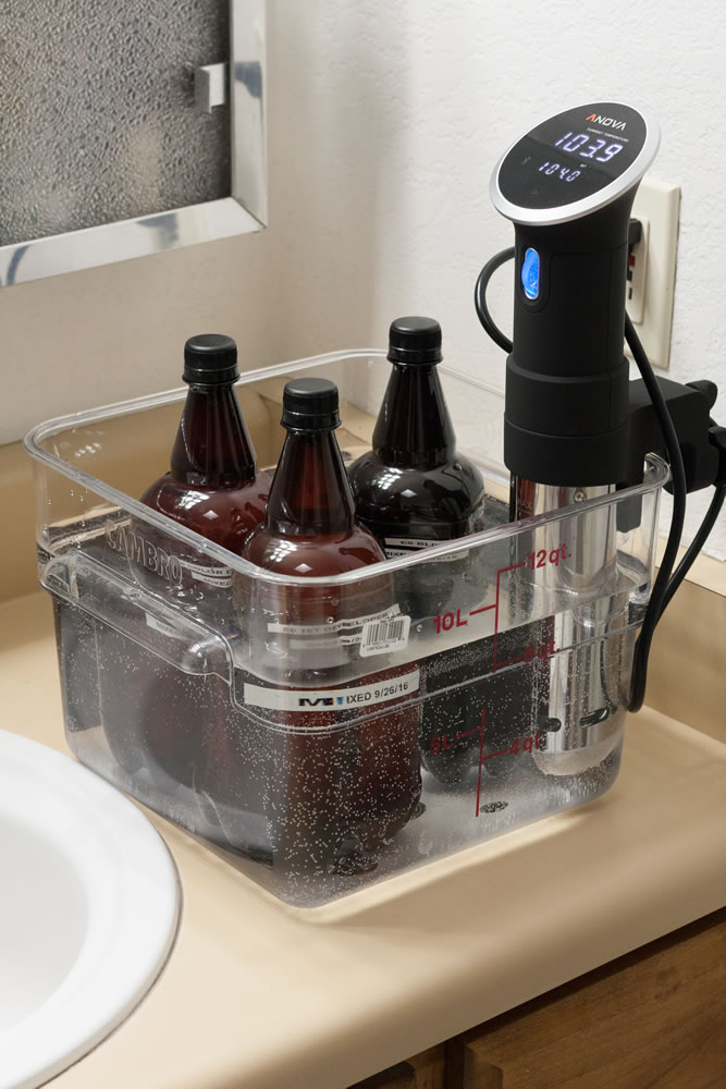 My water bath container setup with Sous Vide cooker and E6 chemistry