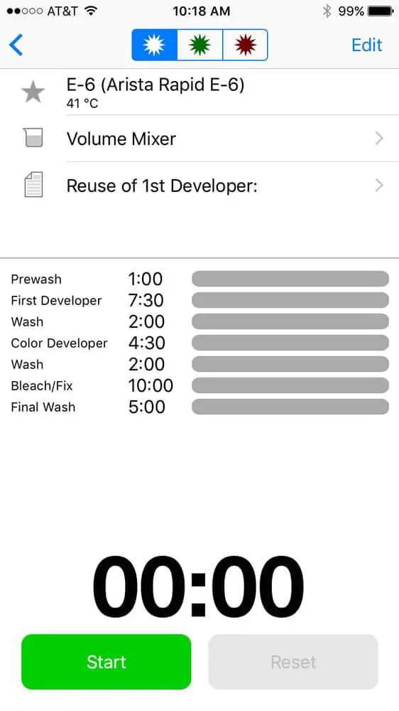 Screenshot of Darkroom Lab Timer on iPhone 6