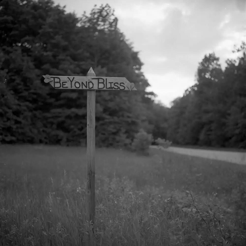 The welcome sign to Bliss, Michigan. Rolleiflex 2.8F – Carl Zeiss Planar 80mm 1:2.8 – Kodak TMax 100 – Kodak Xtol.