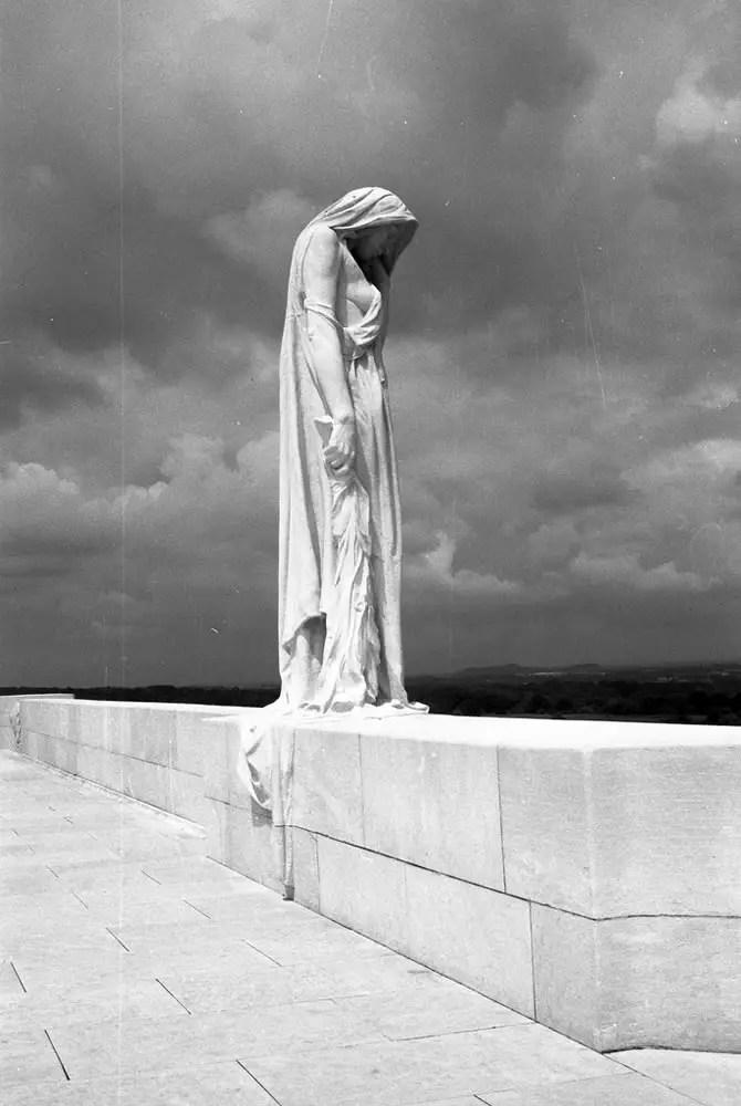 The central statute that graces the Canadian National War Memorial at Vimy Ridge, Vimy, France. Contax G2 – Carl Zeiss Planar 2/45 – Kodak Panatomic-X – Kodak Xtol.
