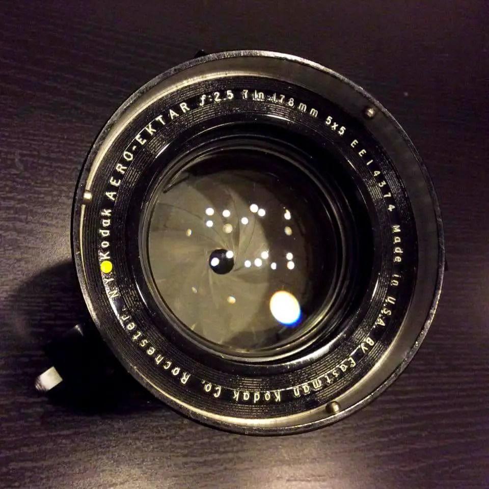 "Kodak Aero Ektar 7"" (178mm) f/2.5 lens"