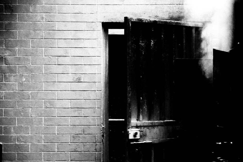 Steamroom - Ilford FP4+ shot at EI 400. Black and white negative film in 35mm format. Push processed 1+2/3 stops