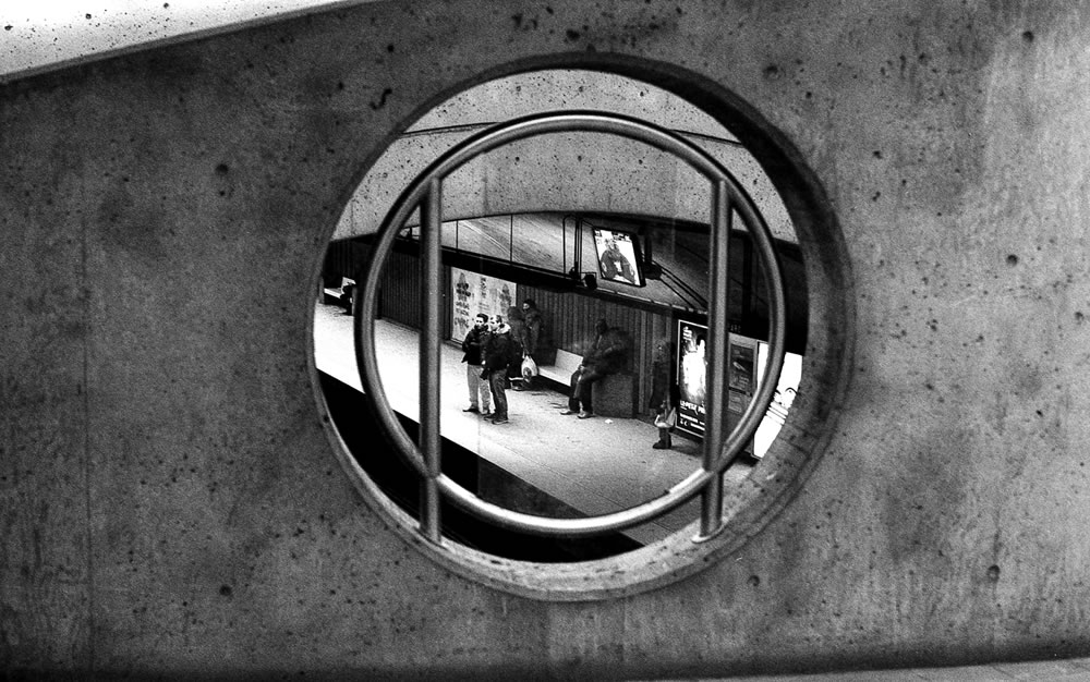 Metro Parc - A view from the overpass in Montreal's Parc Metro station. Olympus OM-1, Ilford Delta Professional 400 at EI 1600