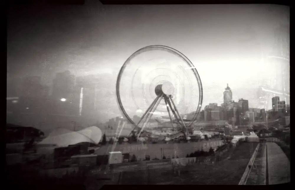 Hong Kong, central ferris wheel - ILFORD Pan F+ - Noon 612 pinhole camera at 6x9