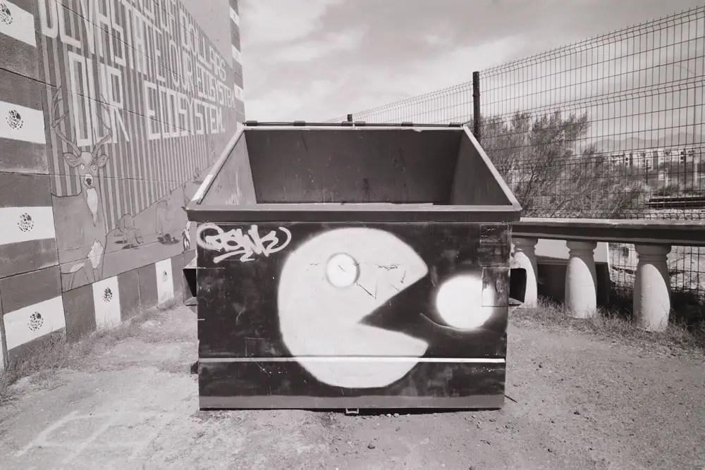 Pac-Man Dumpster,Mamiya Super 23, 50mm f/6.3, Kodak TMax 100