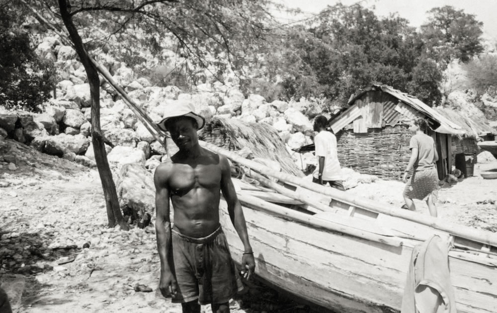 Fisherman in Haiti by his boat - Kodak BW 400CN Disposable