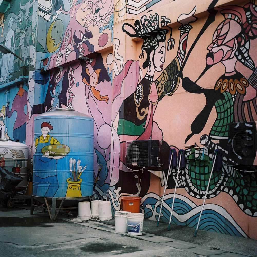 Back street mural - Shot on Kodak Portra 160VC at EI 100. Color negative film in 120 format shot as 6x6.