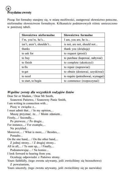 list formalny   Egzamin maturalny z Języka angielskiego