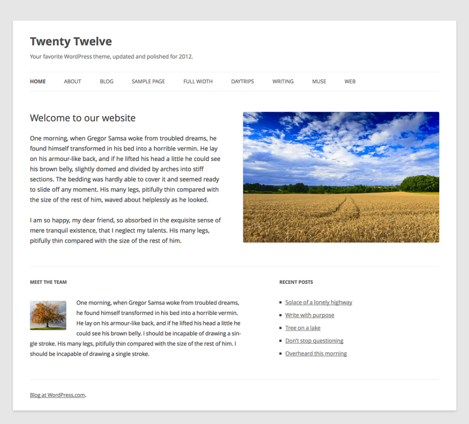 twenty twelve home New Wordpress Default Theme: Twenty Twelve