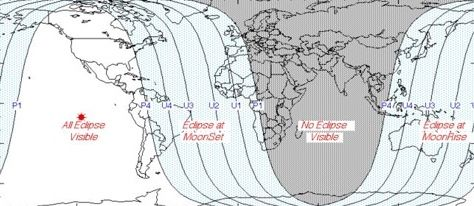 Worldwide map of the April 14-15, 2014, total lunar eclipse. View larger, courtesy of NASA Eclipse Web Site