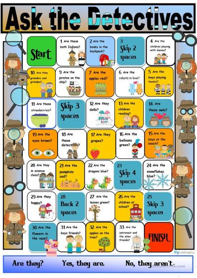 Detectives Speaking Activity Boardgame:Verb 'to be' Third Person Plural worksheet - Free ESL ...