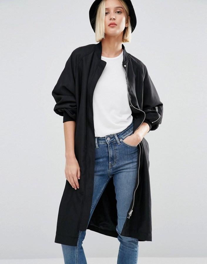 Long coat bomber style Asos