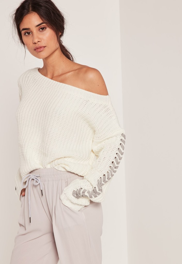 White pull with laces MissGuided