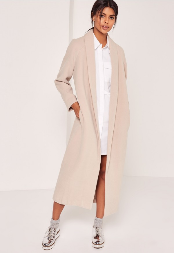 Long nude coat MissGuided