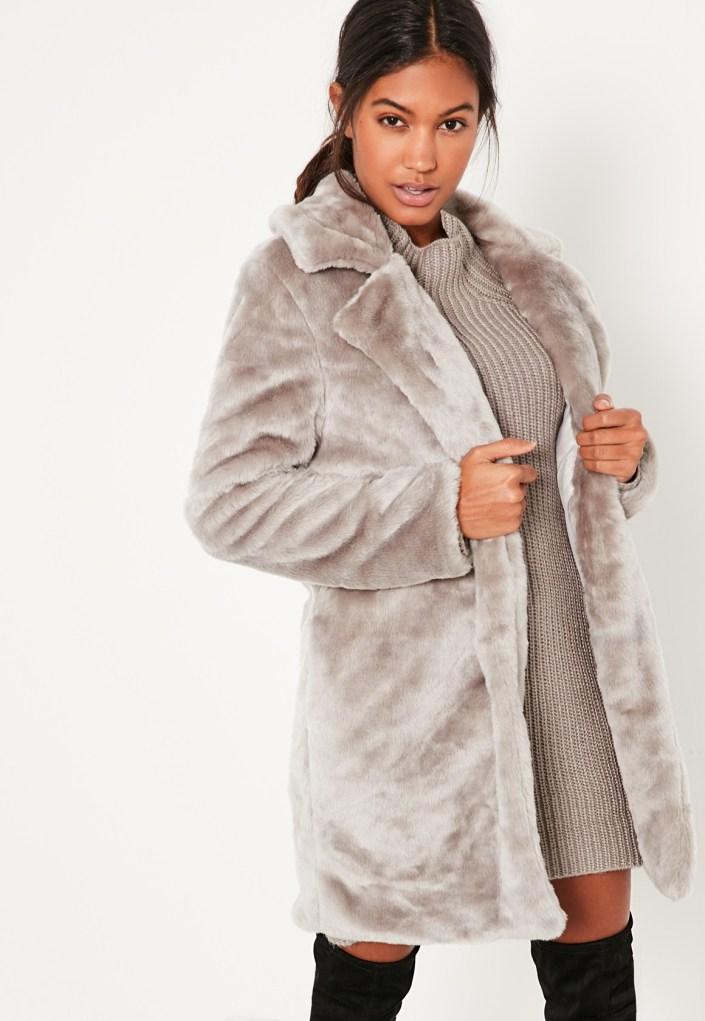 Gray false fur coat MissGuided