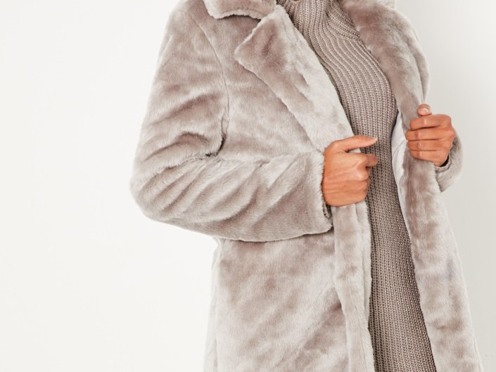 Gray false fur coat MissGuided