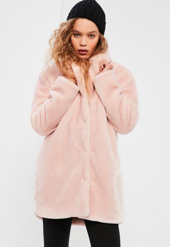Pink false fur coat MissGuided