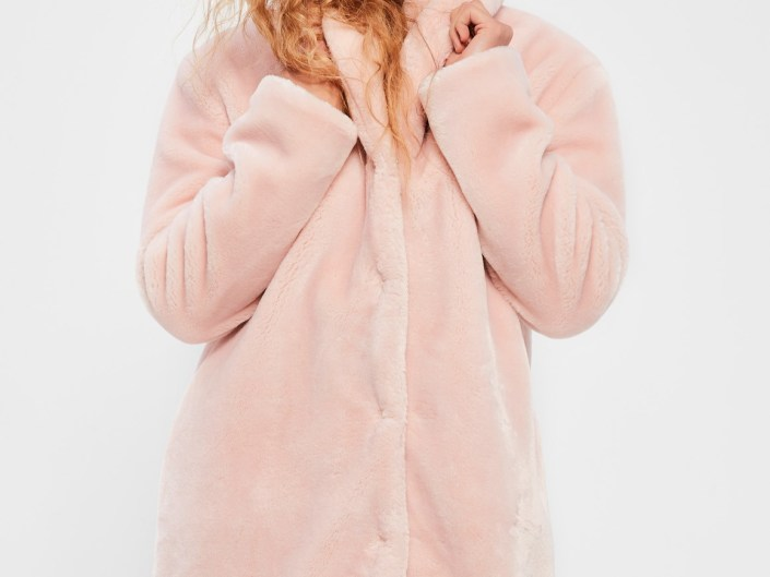 Pink false fur coat MissGuided