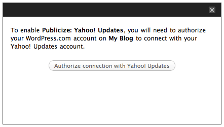Publicize: Yahoo authorization message