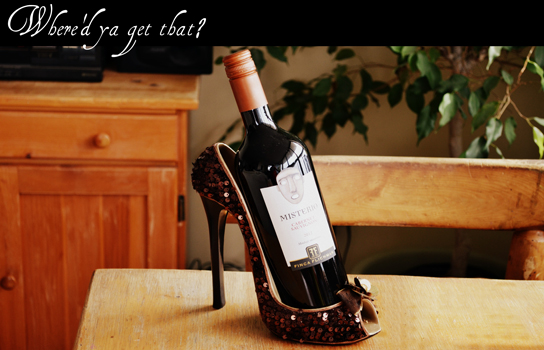 Wine and wine holder.