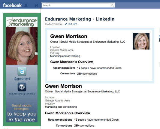 Setting up LinkedIn on my Facebook Page