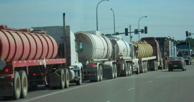 fracking trucks on the road