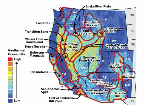Figure 1. Map of United States geothermal regions.