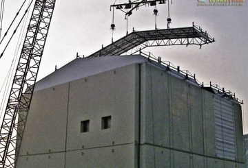 The roof panel of the cover for the reactor building at Unit 1