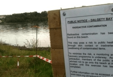 Radioactive material was first detected on the foreshore of Dalgety Bay in 1990.