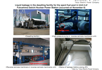 Liquid leakage in the desalting facility for the spent fuel pool in Reactor4