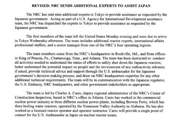 NRC SENDS ADDITIONAL EXPERTS TO ASSIST JAPAN