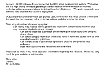 USNRC rationale for deployment of the DOE aerial measurement system