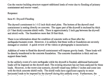 March 30th, 2011 - Can the reactor building structure support additional loads of water due to flooding of primary containment