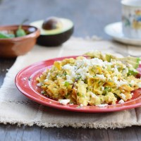 Migas with Feta Cheese and Avocado Slices